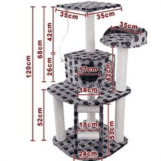 Cat Scratching Poles Post Furniture Tree House Condo Black Grey for sale online Cat Scratching Tree, Cat Tree Plans, Cat Playhouse, Cat Gym, Giant Cat, Diy Cat Tree, Cat Towers, Pet Furniture, House Furniture