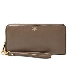 Fossil Sydney Leather Zip Clutch - Wallets & Wristlets - Handbags & Accessories - Macy's