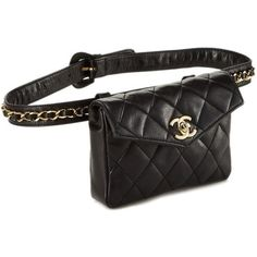 Black Quilted Lambskin Belt Bag 32 ❤ liked on Polyvore featuring bags, handbags, quilted bag, quilted purses and quilted handbags