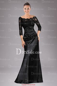 Love this in black but need to be thin to pull this one off!  Ceremonious Sheath Mother of the Bride Dress with Lace Top