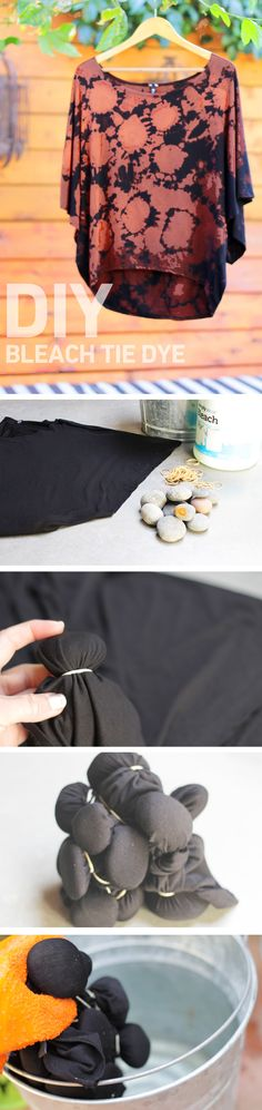 DIY bleach tie dye. http://blog.swell.com/DIY-Bleach-Tie-Dye