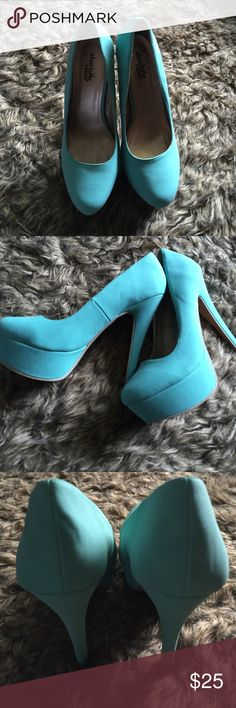Mint Pumps These are gorgeous heels but I've never worn them. You can tell because the bottom of the heel is clean. There is just glue marks from the sticker that was on it. No trades💋 won't be lowering the price, but offers are welcomed. Charlotte Russe Shoes Heels