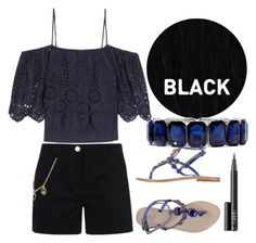 """Black summer"" by erohina-d ❤ liked on Polyvore featuring Ganni, Love Moschino, Sleep In Rollers, Gei Gei, NARS Cosmetics and Monet"