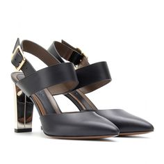 mytheresa.com - Marni - LEATHER PUMPS WITH METALLIC HEEL - Luxury Fashion for Women / Designer clothing, shoes, bags