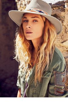 Boho Army Jacket Shirt Embellished Seed Bead Military Officer Stripes Eagle Button Down Khaki Olive Drab Sizes Small Medium Or Large Army Shirts, Military Shirt, Military Officer, Mode Boho, Erin Wasson, Wide-brim Hat, Trends, Felt Hat, Derby Hats