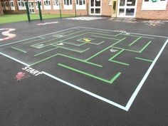 Maze Markings by Maple Leaf Designs of Cheshire, your one-Stop School Playground Equipment Specialists, Manufacturing & Installing since Outdoor Classroom, Outdoor School, Classroom Crafts, Playground Painting, Playground Games, Field Day Games, School Games, Summer Activities For Kids, Outdoor Games