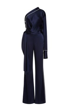 Shop Solid Sateen Off Shoulder Jumpsuit. This **Jonathan Simkhai** Solid Sateen Off Shoulder Jumpsuit features an asymmetric one sleeve neckline, single bishop style sleeve, and wide leg pant silhouette. Kpop Fashion Outfits, Suit Fashion, Korean Outfits, Look Fashion, Fashion Dresses, Womens Fashion, Classy Work Outfits, Chic Outfits, Girl Outfits