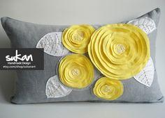 Sukan / ROSE  Linen Pillow Cover - Lumbar Pillow - Gray linen Pillow - Roses Pillow - Yellow Pillow - 12x20 Pillow Cover. $55.95, via Etsy.