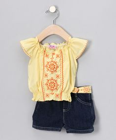 Take a look at this Yellow Peasant Top & Denim Shorts - Toddler by Young Hearts on #zulily today!
