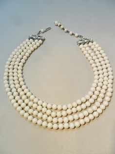 Vintage Bib Collar Necklace / Choker Signed HONG KONG 4 Strand White Lucite Retro Art Deco 1950's Statement by KathiJanes on Etsy