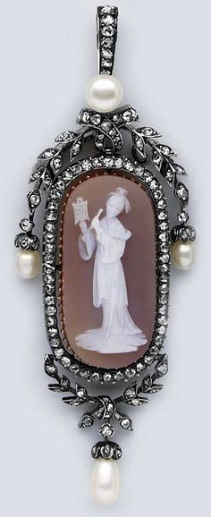 "Victorian Pearl, Rose-Cut Diamond, Gold, and Stone Cameo Pendant of a ""Quan Yen."""