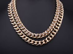 Newest Shiny Cut LIGHT GOLD Plated Chunky Aluminium Curb Chain Necklace SC084 http://www.aliexpress.com/store/1577044