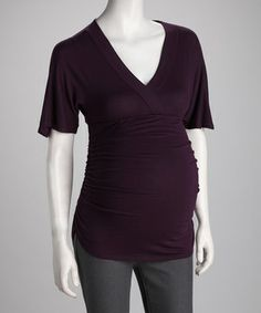 Look what I found on #zulily! Purple Ruched Maternity Surplice Top by GLAM #zulilyfinds