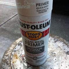Rustoleum Metal Primer...old milk can restoration. Just bought one today at an estate sale.