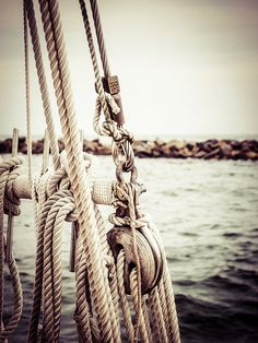 Sailboat, sailing, sails, rope, coastal, sea, ocean, vintage, wall hanging, photograph, print, stylized