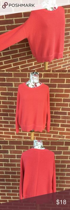 LOfT slouch sweater Coral sweater by LOFT- good used condition- not like new though, no flaws that I can find- coral- slouch style, very comfy LOFT Sweaters Crew & Scoop Necks