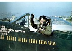 "Pisa, San Giusto airfield, Italy, Spring 1945: Brazilian Air Force's 1° Ten. Av. (1st Lt) Othon Corrêa Neto, nickname ""Serião"", in the cockpit of his aircraft, the Republic P-47D-25-RE Thunderbolt, s/n 42-26766, Code B4 (aircraft number 4 of the Esquadrilha Amarela/Flight Yellow, aircraft code B), all finish olive drab. Othon Corrêa Neto,"