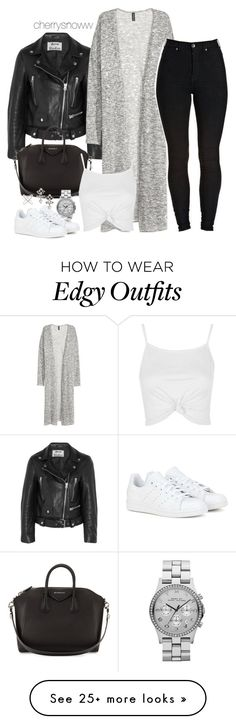 """Edgy casual chic monochrome spring outfit"" by cherrysnoww on Polyvore featuring Acne Studios, Kofta, Givenchy, Marc by Marc Jacobs, adidas, Topshop and DANNIJO"