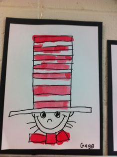 "Draw a ""U"" in the lower half of your paper.  Draw a line across the top of the ""u.""  Make that line into a very thin rectangle. Now add a long rectangle to the top of that - almost to the top of your paper.  Add the stripes to the hat.  Draw another u for …"