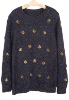 Blue Long Sleeve Snowflake Embroidery Sweater