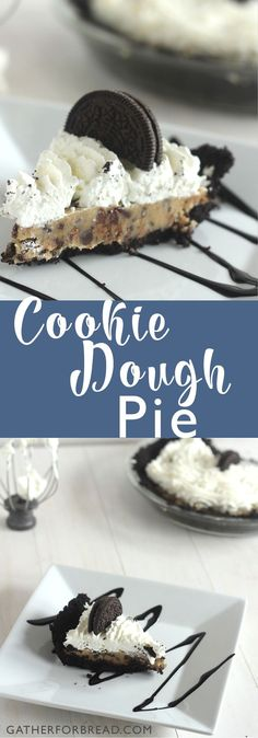 Cookie Dough Pie - Delicious, creamy no bake, made from scratch pie… Trifle Desserts, Sweet Desserts, Easy Desserts, Cookie Dough Pie, Edible Cookie Dough, Cookie Cups, Chocolate And Vanilla Cake, Chocolate Recipes, Chocolate Lovers