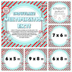 Classroom Freebies: Snowflake Multiplication Facts SMART BOARD Game