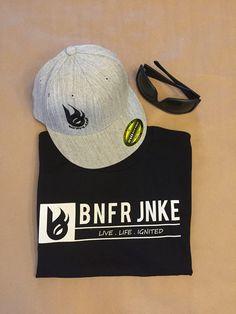 Bonfire Junkie black signature logo tee