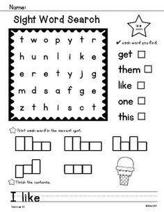 This is a set of 20 simple sight word searches. Each word search contains 5 words from Dolch Lists 1-5 (In Order of Frequency). 100 words are covered. Students also write the words in the matching word boxes and complete a simple sentence that includes one of the sight words. A great addition to your sight word activities!