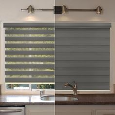 Free-Stop Cordless Zebra Dual Layer Combi Window Blind Striped Granite Semi-Sheer Gray Roller Shade Zebra Blinds, Zebra Curtains, Burlap Curtains, Blinds For Windows Living Rooms, House Blinds, Blind For Windows, Shades For Windows, Modern Window Shades, Window Blinds & Shades