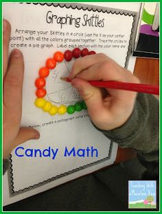 Use Skittles to make a circle graph.  Perfect for decimals, percents, and fractions! (Paid product pictured)