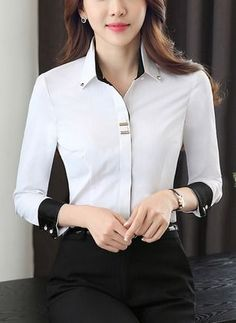 Fashion Tips Jewelry .Fashion Tips Jewelry Blouse Styles, Blouse Designs, Korean Fashion Work, Classy Outfits For Women, Stylish Shirts, Dress Shirts For Women, Professional Outfits, Office Fashion, Office Outfits