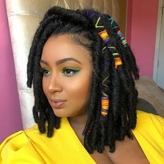 Different And Creative Faux Locs Bob Hairstyles Box Braids Hairstyles, Dreadlock Hairstyles, My Hairstyle, Hairstyles 2018, Micro Braids, Faux Locs Bob, Faux Locs Short, Jumbo Faux Locs, Bobbi Boss Hair