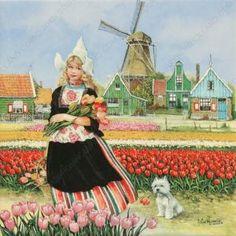 Tulpenmeisje - Tegel 15x15 cm - Kleur