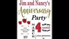 Anniversary party invitations partyinvitations.com Anniversary Party Invitations, Anniversary Parties, Rsvp, Birthday Celebrations, Birthday Invitations
