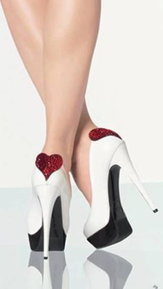 White High Heels with red heart, platform base, and stiletto heels