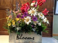 Spring floral arrangement rustic spring decor by FlowerPowerOhio, $99.99