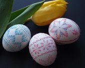 Set of 5 Easter Eggs in Purple, Decorated Chicken Eggs, Wax-Embossed Polish Pysanky, Kraslice. $69.95, via Etsy.