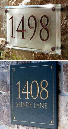 Very unique and classy address plaques. Engraved in crystal and stone.
