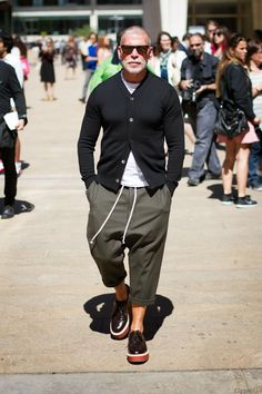 #Men #Style #Fashion #Black #Cardigan #Green #Trousers #NickWooster