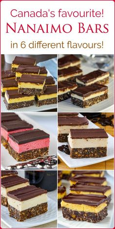 The Nanaimo Bar Recipe Collection – from a new and improved classic Nanaimo bar recipe, to great new versions like Irish Cream, chocolate orange or raspberry, these 6 flavours will have you rediscovering this Canadian favourite! I LOVE NANAIMO BARS! Beaux Desserts, No Bake Desserts, Delicious Desserts, Dessert Recipes, Food Recipes Snacks, Xmas Desserts, Nanaimo Bars, Rock Recipes, Sweet Recipes