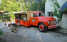 the Rolling Stonebaker pizza truck, a decommissioned and retrofitted 1949 Studebaker fire truck.