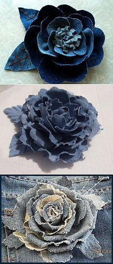 Цветы из джинсовой ткани своими руками