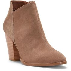 Donald J Pliner Women's Savie- Brown (10) ($188) ❤ liked on Polyvore featuring shoes, boots, ankle booties, ankle boots, brown, metallic, suede, short boots, high heel booties and high heel boots