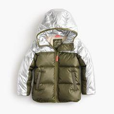 J.Crew - Girls' colorblock marshmallow puffer jacket in metallic
