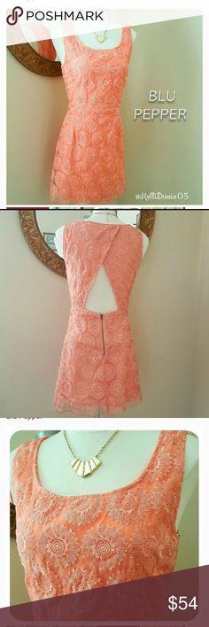 Tangerine Blu Pepper Dress Gorgeous sleeveless dress by Blu Pepper. Tangerine Orange/Coral Dress With Lace Overlay & Open Cutout Back. Zip closure. Lined. Scalloped hem. Blu Pepper Dresses Midi