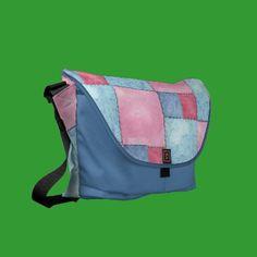 Denim Patchwork Messenger Bag, Pinks and Blues