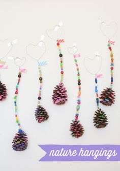 Fun with pinecones and wire and beads.  Great easy art project for preschoolers.