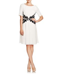 Adrianna Papell Lace Applique Fit-and-Flare Dress