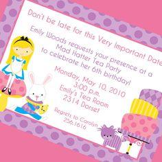 Alice in Wonderland Invitation, Printable Invitation Design, Custom Wording, JPEG File $8.00 5x7