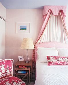 I love the canopy over the bed for a little girl's room.